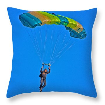 Parachuting Throw Pillow by Karol Livote