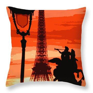 Paris Tour Eiffel Red Throw Pillow by Yuriy  Shevchuk