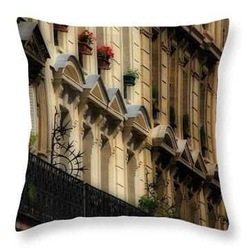 Paris Windows Throw Pillow by Andrew Fare
