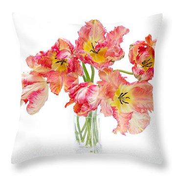 Parrot Tulips In A Glass Vase Throw Pillow by Ann Garrett
