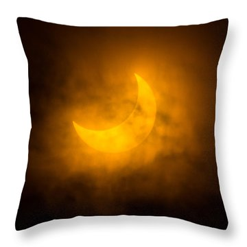 Partial Solar Eclipse Through Fog Throw Pillow by Greg Nyquist