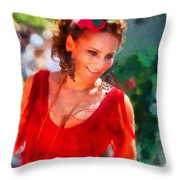 Passionate Gypsy Blood. Flamenco Dance Throw Pillow by Jenny Rainbow
