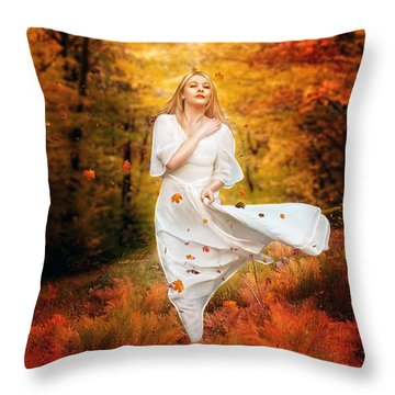 Path Of Fall Throw Pillow by Mary Hood