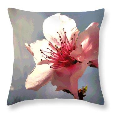 Peach Blossom Macro 2 Throw Pillow by Joyce Dickens