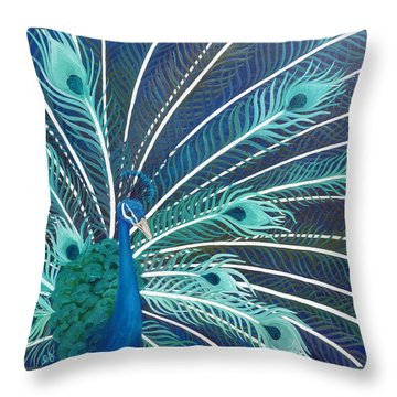 Peacock Throw Pillow by Estephy Sabin Figueroa