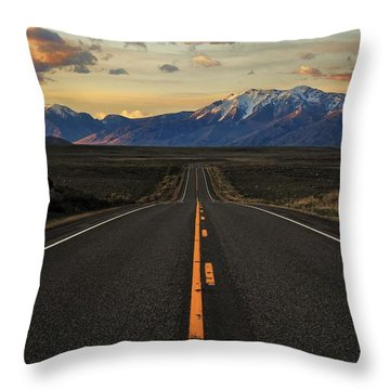 Peaks To Craters Highway Throw Pillow by Benjamin Yeager