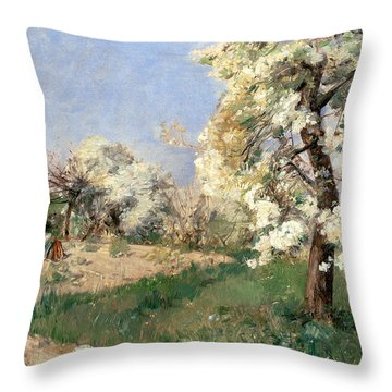 Pear Blossoms Throw Pillow by Childe Hassam