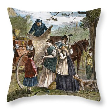 Peddlers Wagon, 1868 Throw Pillow by Granger