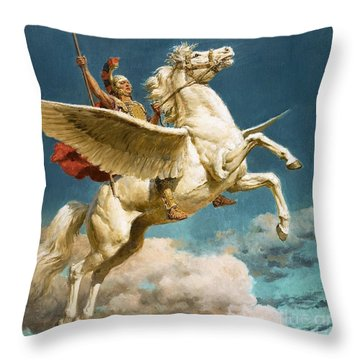 Pegasus The Winged Horse Throw Pillow by Fortunino Matania