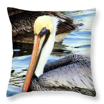 Pelican Pete Throw Pillow by Karen Wiles