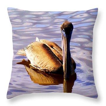 Pelican Puddles Throw Pillow by Karen Wiles