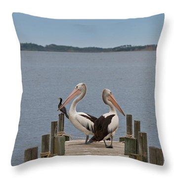 Pelicans On A Timber Landing Pier Mooring Throw Pillow by Ulrich Schade