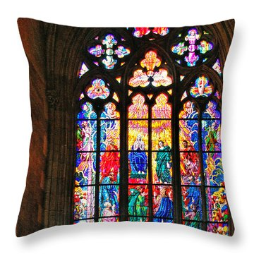 Pentecost Window - St. Vitus Cathedral Prague Throw Pillow by Christine Till