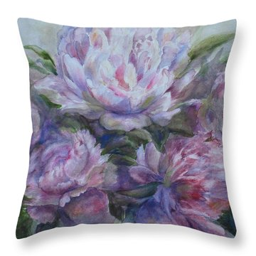 Peonies Throw Pillow by Bonnie Goedecke