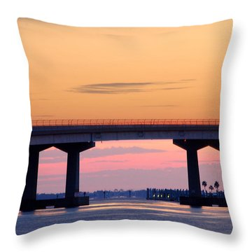 Perdido Bridge Sunrise Closeup Throw Pillow by Michael Thomas