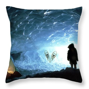Person In Ice Cave, Appa Glacier Throw Pillow by David Nunuk