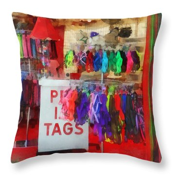 Pet Leashes And Harnesses For Sale Throw Pillow by Susan Savad