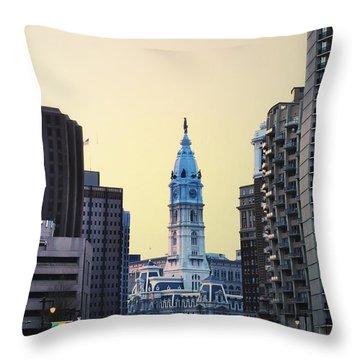 Philadelphia Cityhall At Dawn Throw Pillow by Bill Cannon