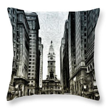 Philly - Broad Street Throw Pillow by Bill Cannon