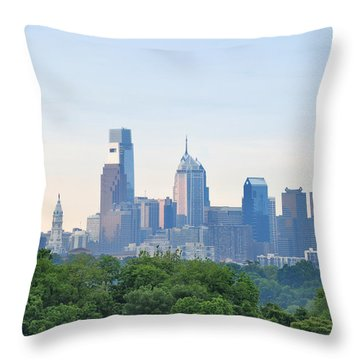 Philly Skyline Throw Pillow by Bill Cannon