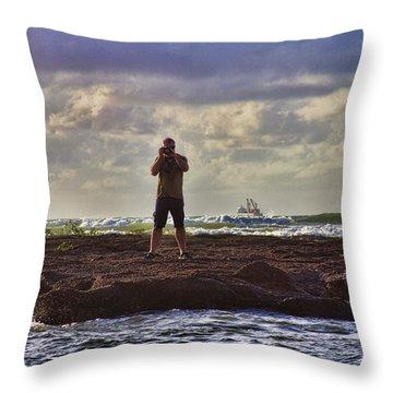 Photographing Seaside Life Throw Pillow by Douglas Barnard