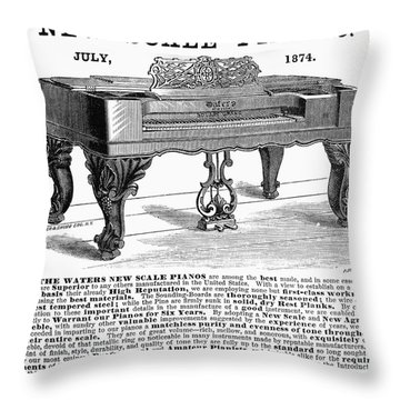 Piano Advertisement, 1874 Throw Pillow by Granger