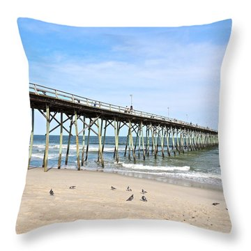 Pier At Kure Beach Throw Pillow by Eve Spring