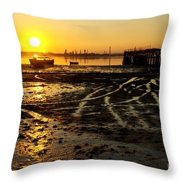 Pier At Sunset Throw Pillow by Carlos Caetano