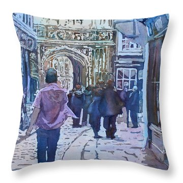 Pilgrims At The Gate Throw Pillow by Jenny Armitage