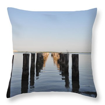 Pilings From An Old Pier Throw Pillow by Bill Cannon