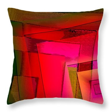 Pink And Green Geometric Art Throw Pillow by Mario Perez