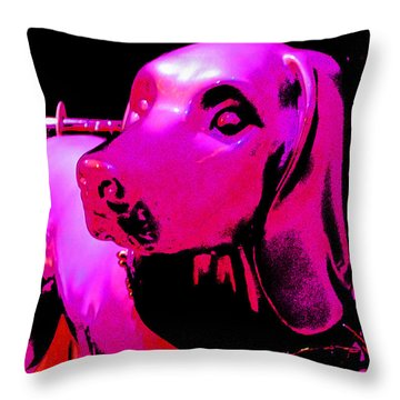 Pink And Purple Pooch Throw Pillow by Kym Backland