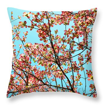 Pink Dogwood Sky Throw Pillow by Debbie Portwood