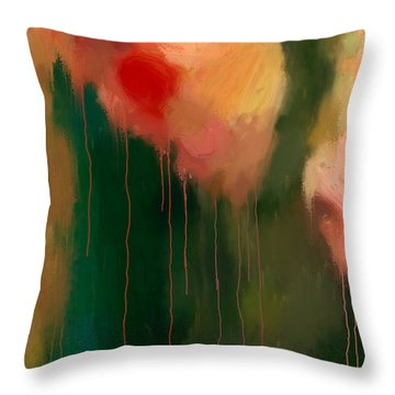 Pink Drips Throw Pillow by Michael Pickett