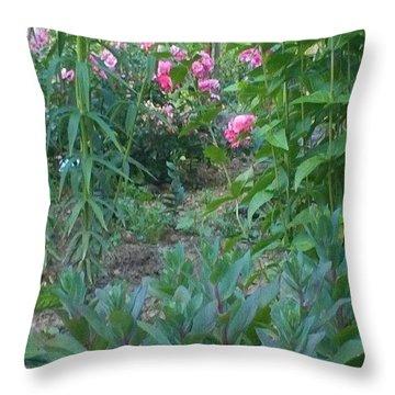 Pink Garden Flowers Throw Pillow by Thelma Harcum