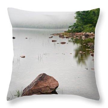 Pink Granite In Jordan Pond At Acadia Throw Pillow by Steve Gadomski