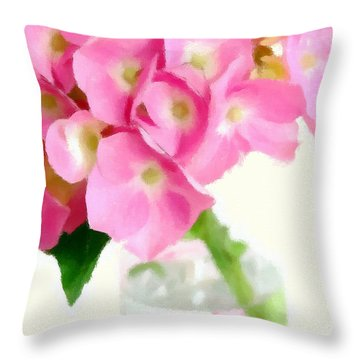 Pink Hydrangea In A Glass Vase Throw Pillow by Anne Kitzman
