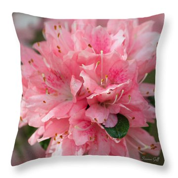 Pink On Pink Squared Throw Pillow by Suzanne Gaff