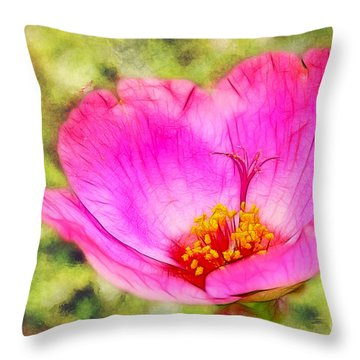 Pink Portulaca Throw Pillow by Judi Bagwell
