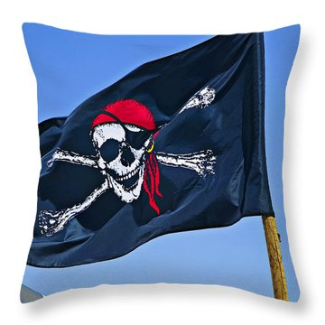 Pirate Flag Skull With Red Scarf Throw Pillow by Garry Gay