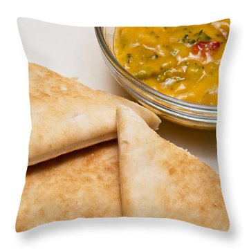 Pita Bread With Brocoli Cheese Dip Throw Pillow by Andee Design