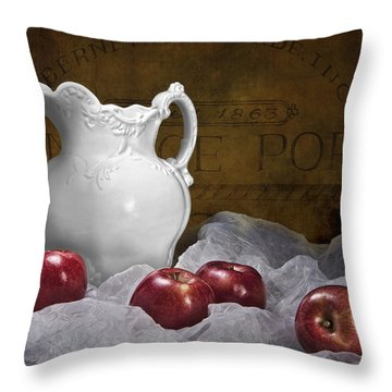 Pitcher With Apples Still Life Throw Pillow by Tom Mc Nemar