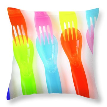 Plastic Cutlery Throw Pillow by Carlos Caetano