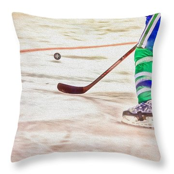 Playing The Puck Throw Pillow by Karol Livote