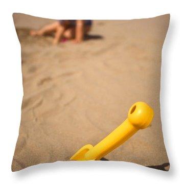 Playtime At The Beach Throw Pillow by Meirion Matthias