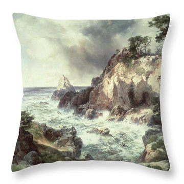 Point Lobos At Monterey In California Throw Pillow by Thomas Moran