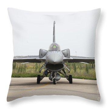 Polish F-16c Block 52 At Albacete Throw Pillow by Timm Ziegenthaler