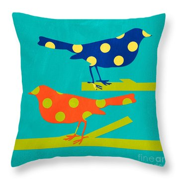 Polka Dot Birds Throw Pillow by Linda Woods