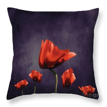 Poppies Fun 02b Throw Pillow by Variance Collections