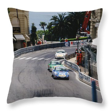 Porsches At Monte Carlo Casino Square Throw Pillow by John Bowers